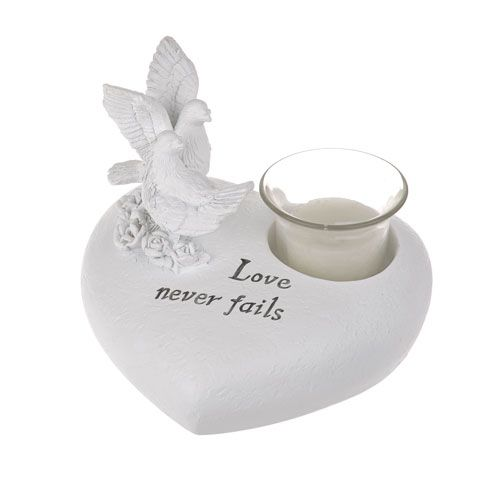 Memorial Pray pair of doves with tea light